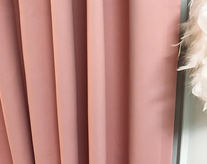 Pale Pink Solid Blackout Curtain