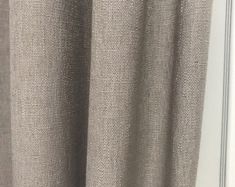 """Sample Sale] Light Beige Grey Slubbed Curtain Panel. Linen Curtain. 57"""" Long by 49"""" Wide. Thick Curtain Fabric. Window Treatments"""