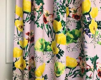 Tulip Floral Pattern Lavender Linen Cotton Curtain
