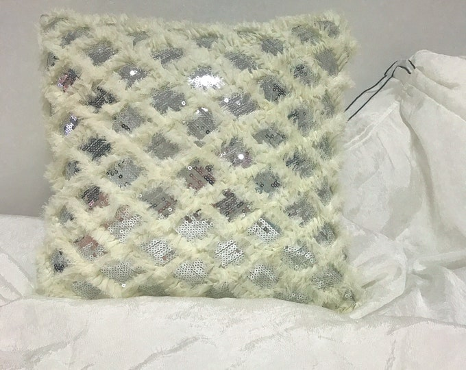 White Fringes with Silver Sequins Decorative Square Cushion Cover 18 inches