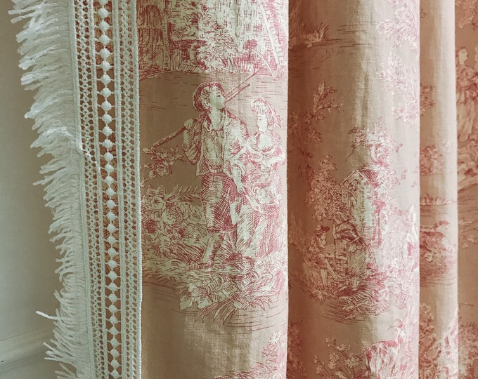 Crochet Tassel Edging Trimming Pink Vintage Country Cottage Pattern Washed Linen Curtain