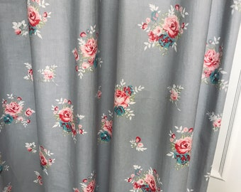 """Vintage Floral Patterned Grey Curtain Panel. 64"""" 84"""" 90"""" 96"""" Long by 39"""" Wide. Window Treatments."""