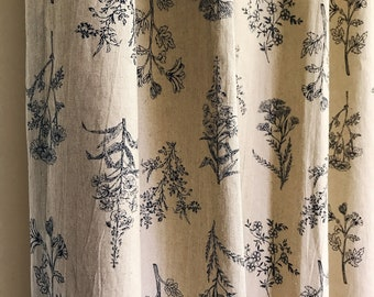Oatmeal Color Washed Linen Botanical Curtain