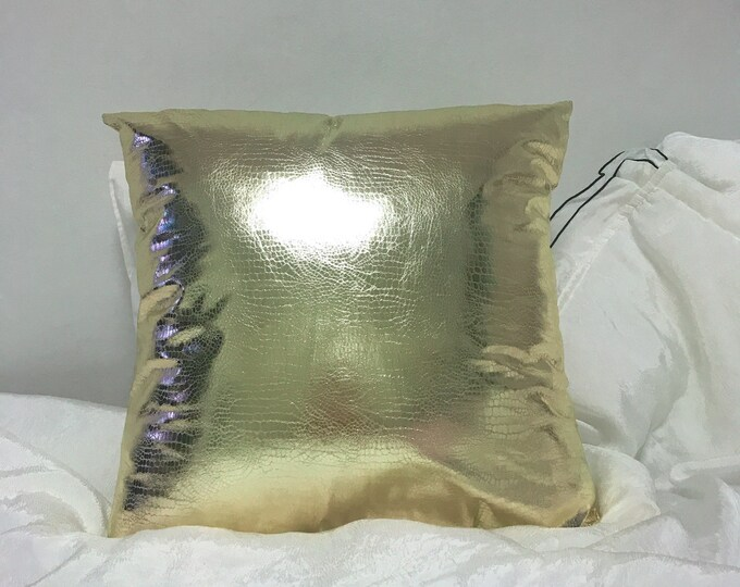 Gold Metallic Faux Leather Decorative Square Cushion Cover 18 inches