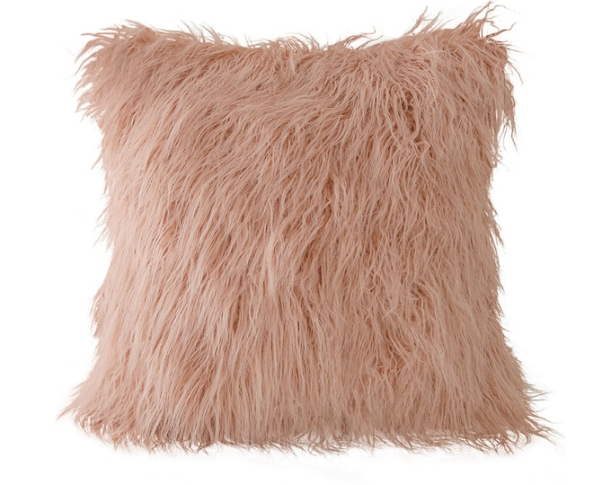 Pink Mongolian Lamb Faux Fur Decorative Square Cushion Cover 18 inches