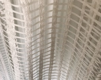 """Velvet Checked White Sheer Curtain Voile Panel. Decorative Drapery Panel. 64"""" 84"""" 90"""" 96"""" Long by 55"""" Wide. Curtains Ties. Window Treatments"""