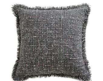 """Grey Tweed Decorative Square Cushion Cover 18"""""""