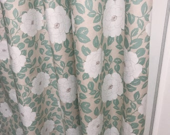 """White Big Flowers Patterned Beige Curtain Panel. 64"""" 84"""" 90"""" 96"""" Long by 39"""" Wide. Window Treatments. Nursery Curtains"""