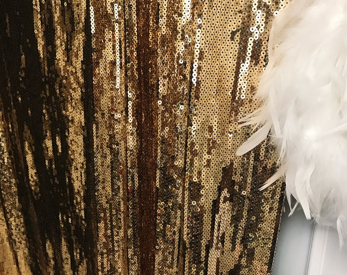 Clearance Sale] Gold Sequins Drops Embellished Metallic Drapery Lined Curtain 1panel of 95cm W X 285cm L