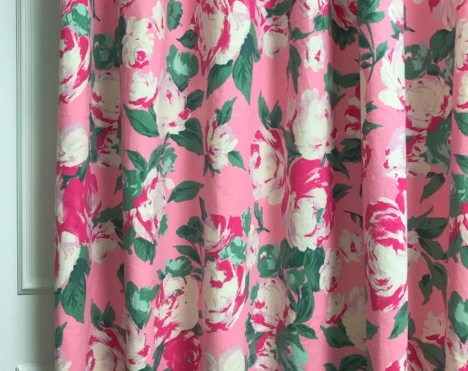 Vintage Pink Rose Pattern Linen Cotton Curtain