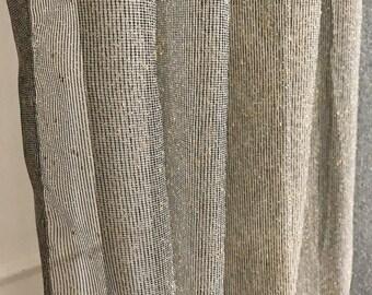 Golden Metallic Accents Black Weave Sheer Curtain Panel