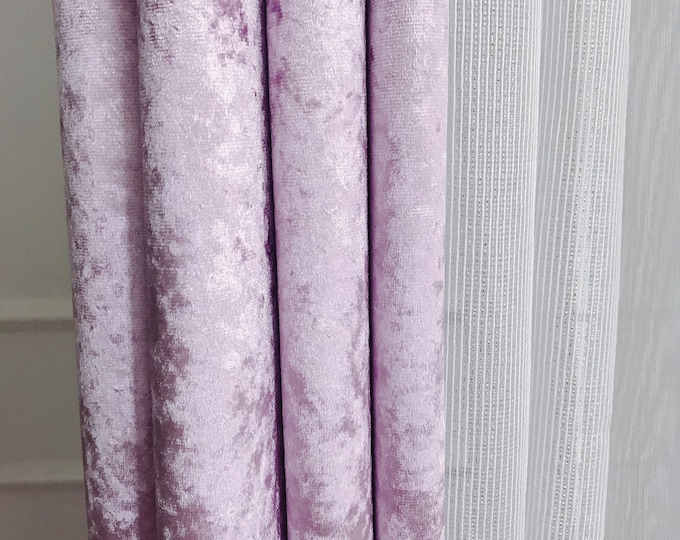 """Glam Violet Velvet Curtain Panel. Curtain Drapes. Various Colours. 64"""" 84"""" 90"""" 96"""" Long by 53"""" Wide. Curtains with Ties. Window Treatments"""