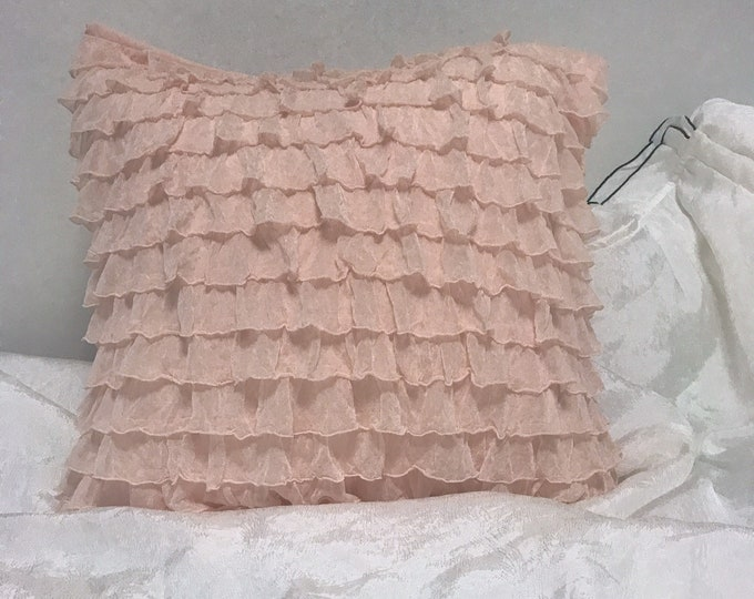 Coral Pink Ruffled Decorative Square Cushion Cover 18 inches
