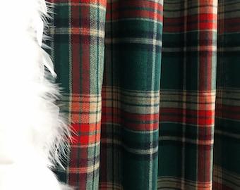 Vintage Green Tartan Plaids Pattern Curtain