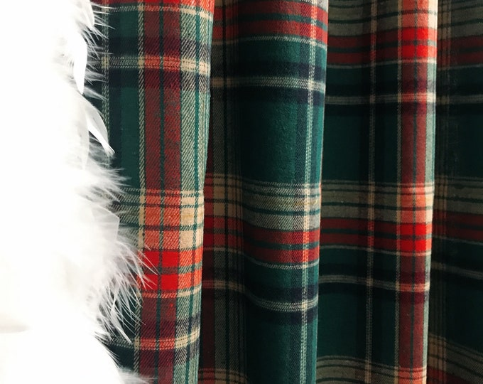 Vintage Green Tartan Plaids Pattern Curtain