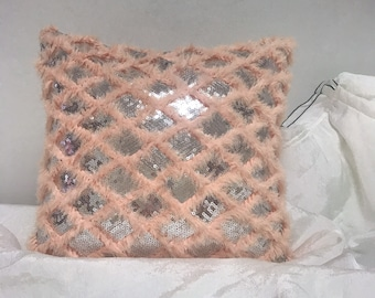 Coral Pink Fringes with Silver Sparkles Sequins Decorative Square Cushion Cover 18 inches