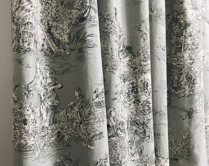 Grey Vintage Country Cottage Pattern Washed Linen Curtain
