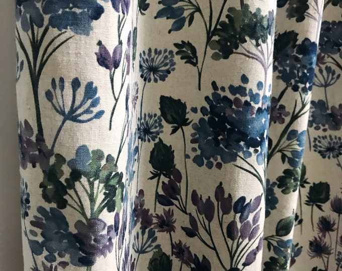 Vintage Purple Blue Floral Pattern Linen Curtain