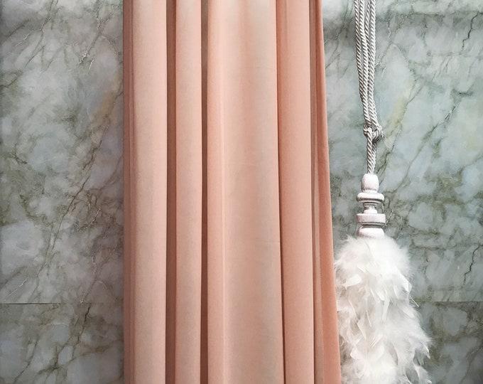 Pale Coral Pink Dark Shade Sheer Curtain
