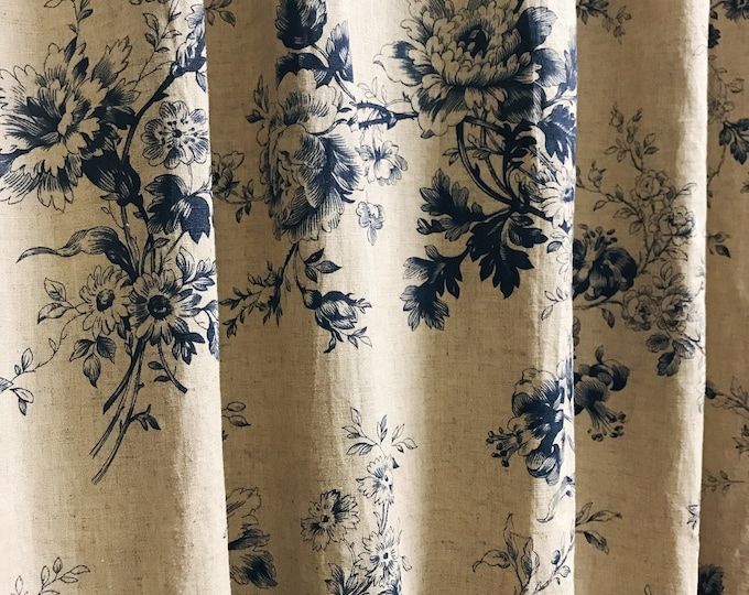 Vintage Floral Pattern Bio Washed Linen Curtain