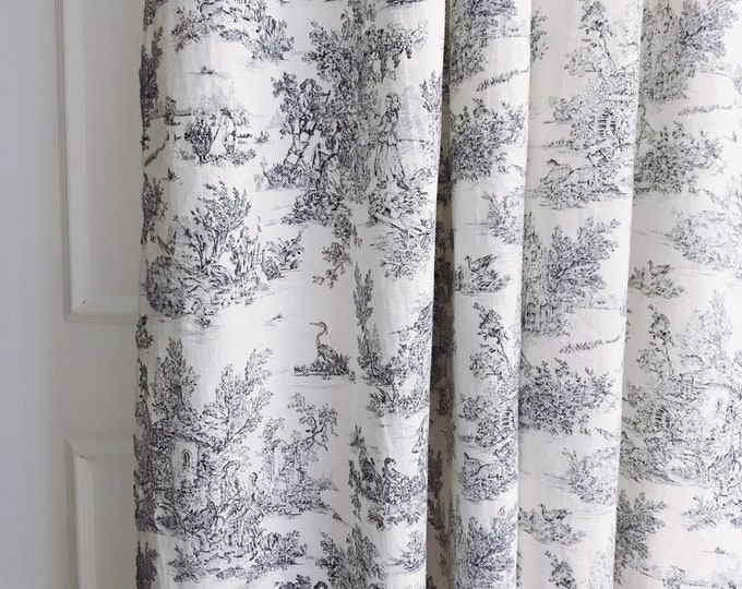 Grey Vintage Farm Scenery on Ivory Washed Linen Curtain