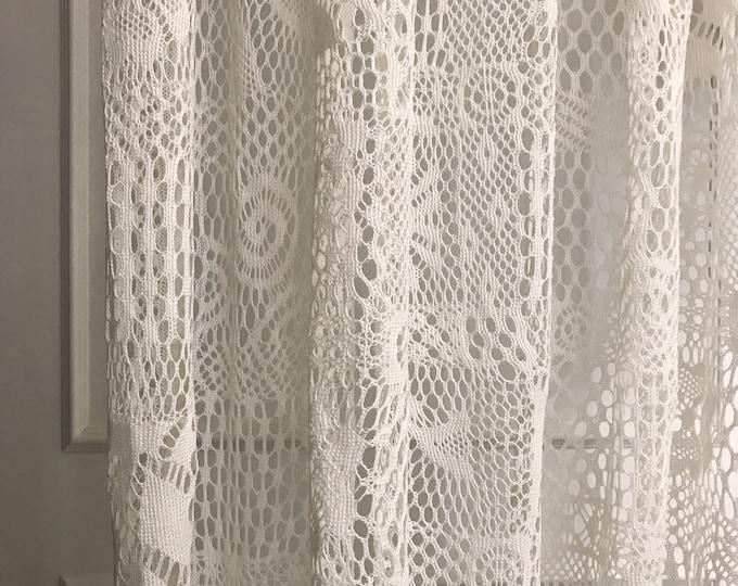 Ivory Crochet Sheer Curtain