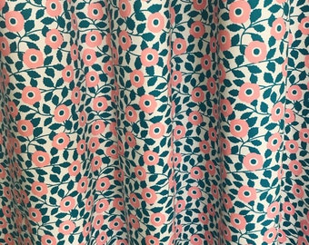 Pink and Cyan Colored Garden Flowers Curtain