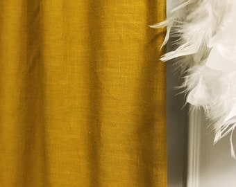 Mustard Colored Washed Linen Curtain panel