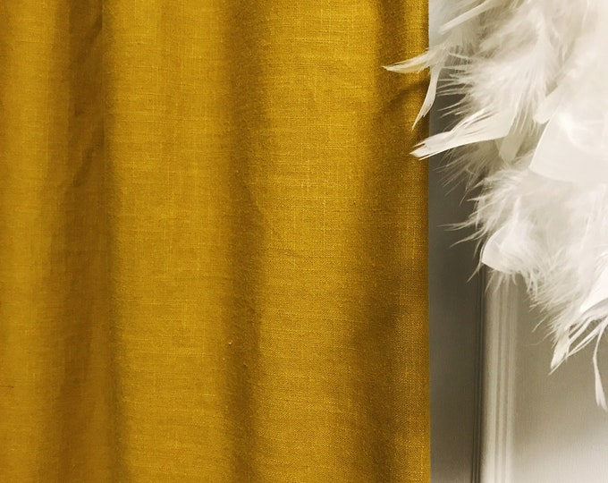 Mustard Colored Washed Linen Curtain