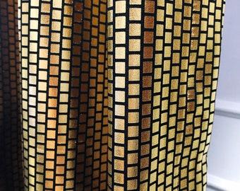 Sparkly Golden Plaid Blackout Curtain