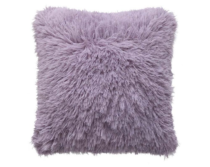 "Fluffy Soft Square Cushion Cover 18"" X 18"" Pink Mint Lavender"
