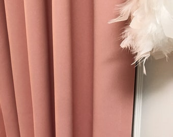 """Pale Pink Solid Blackout Curtain. Nursery Curtain Drapes. Various colours. 64"""" 84"""" 90"""" 96"""" Long by 53"""" Wide. Curtains with ties"""