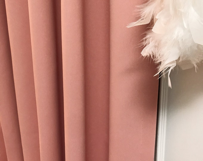 "Pale Pink Solid Blackout Curtain. Nursery Curtain Drapes. Various colours. 64"" 84"" 90"" 96"" Long by 53"" Wide. Curtains with ties"