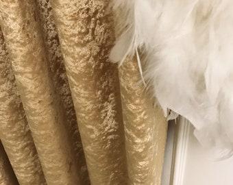 Glam Gold Subtle Gloss Velvet Curtain Drapery Panel