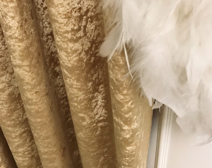 """Glam Gold Velvet Curtain Panel. Curtain Drapes. Various Colours. 64"""" 84"""" 90"""" 96"""" Long by 53"""" Wide. Curtains with Ties. Window Treatments"""