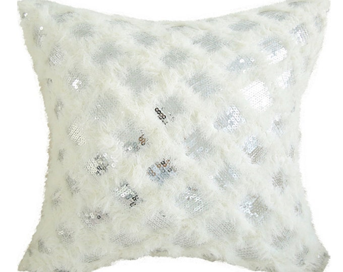 "White Fringes with Silver Sparkles Square Cushion 18"" X 18"""