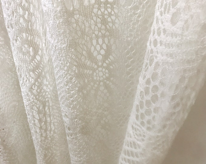 """Ivory Crochet Sheer Curtain Voile Panel. Sheer Curtain. 84"""" 90"""" 96"""" Long by 47"""" Wide. Curtains Ties. Window Treatments"""