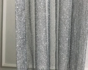 Silver Metallic Accents Weave Black Sheer Curtain Panel