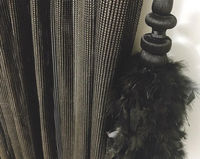 Gold Glitter Black Bold Weave Sheer Curtain