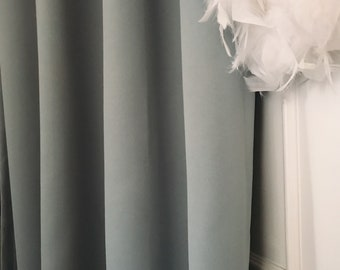 """Pale Duck Egg Blue Solid Blackout Curtain. Nursery Curtain Drapes. Various colours. 64"""" 84"""" 90"""" 96"""" Long by 53"""" Wide. Curtains with ties"""