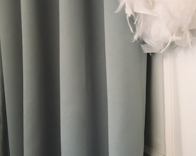 "Pale Duck Egg Blue Solid Blackout Curtain. Nursery Curtain Drapes. Various colours. 64"" 84"" 90"" 96"" Long by 53"" Wide. Curtains with ties"