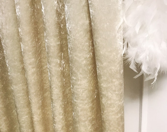 """Glam Beige Velvet Curtain Panel. Curtain Drapes. Various Colours. 64"""" 84"""" 90"""" 96"""" Long by 53"""" Wide. Curtains with Ties. Window Treatments"""