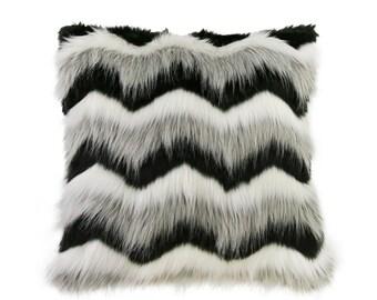 """Grey Ombre Chevron Faux Fur Accent Decorative Square Cushion Cover 18"""""""