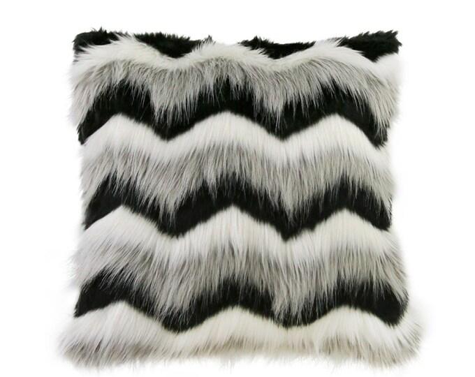 Grey Ombre Chevron Faux Fur Accent Decorative Square Cushion Cover 18 inches