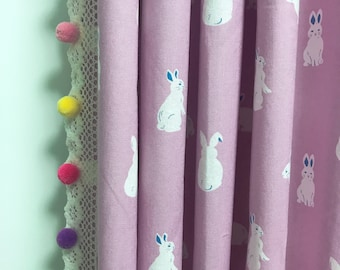 Pom Pom Crochet Edging Trimmed Bunny Rabbit Lavender Curtain