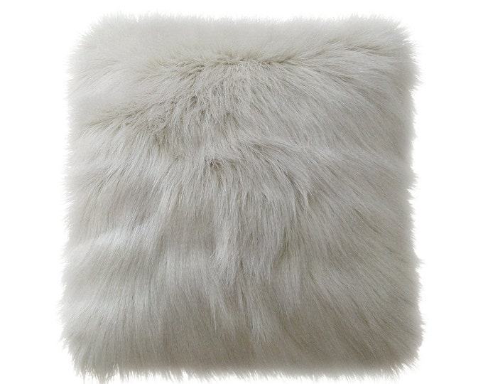 Grey Mongolian Faux Fur Decorative Square Cushion Cover 18 inches