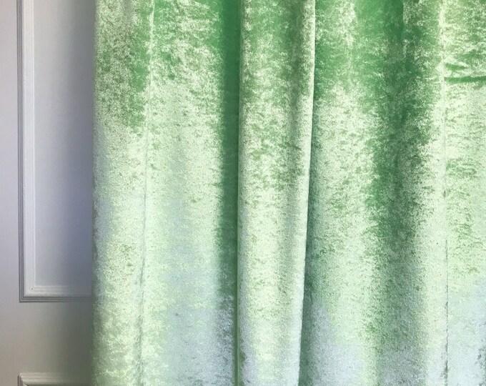Glam Pea Green Subtle Gloss Velvet Curtain