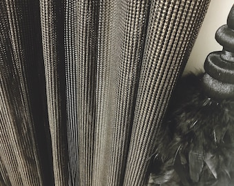 """Gold Glitter Black Weave Curtain. Sheer Curtain Panel. Decorative Voile Panel 84"""" 90"""" 96"""" Long by 37"""" Wide. Curtains Ties. Window Treatments"""