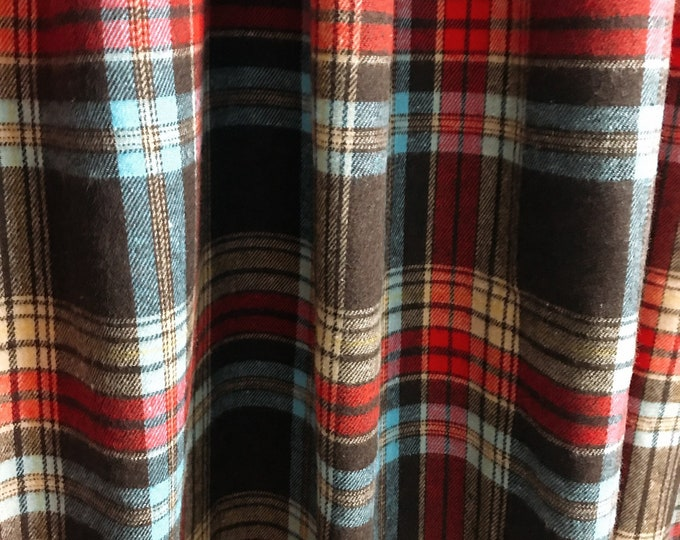 Vintage Tartan Plaids Pattern Curtain Panel Check Wool Blends Curtains