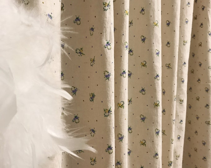 Ditsy Floral Pattern Washed Linen Cotton Curtain Oatmeal